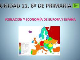 Población y economía de Europa y España. 6º