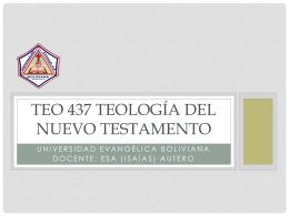Clase VII_TEO 437_Teologia de los Evangelios