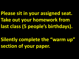 "Silently complete the ""warm up"" section of your paper."