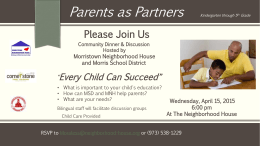 Please Join Us Parents as Partners Kindergarten through 5 th Grade
