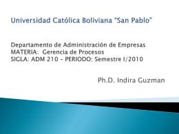 Universidad Católica Boliviana *San Pablo* Departamento de