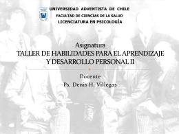 Asignatura TALLER DE HABILIDADES PARA EL APRENDIZAJE Y