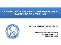 LEV Y TRANSFUSIÓN EN EL PX CON TRAUMA