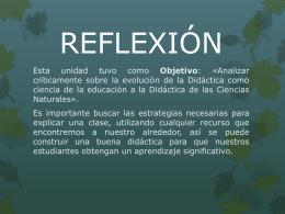 reflexión iv - maestría en didáctica de las ciencias naturales