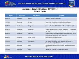 Jornada de Cedulación sábado 23/08/2014