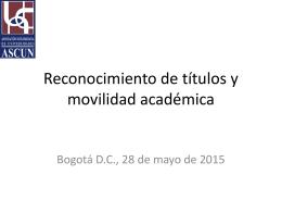 Reconocimiento de títulos y movilidad académica