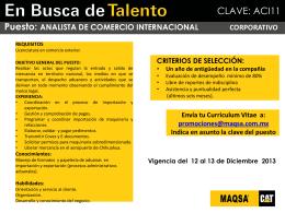 Promociones Internas - ANALISTA COMERCIO INTERNACIONAL