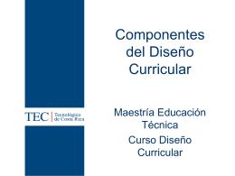 Componentes del Diseño Curricular