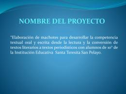 PROYECTO DE AULA ELABORACION DE MACHOTES