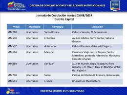 Jornada de Cedulación martes 05/08/2014