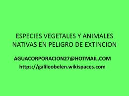 especies vegetales y animales nativas en peligro de