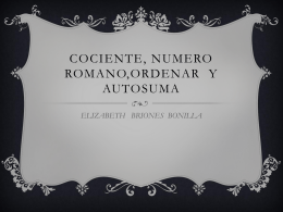 cociente, numero romano,ordenary autosuma