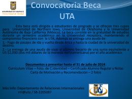 Convocatoria Beca UTA 2014