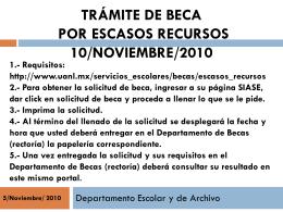 Trámite de beca por escasos recursos 10/Noviembre/2010