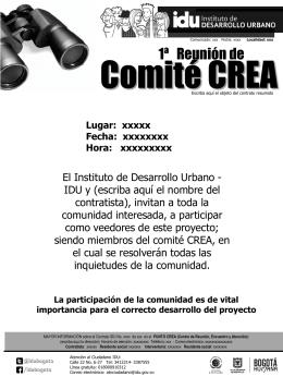 Invitación a reuniones de COMITÉ CREA comunidad en