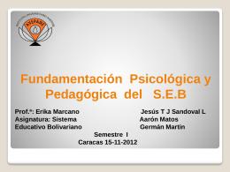Fundamentación Pedagógica del SEB Presentación
