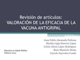 Revisión de artículos: VALORACIÓN DE LA