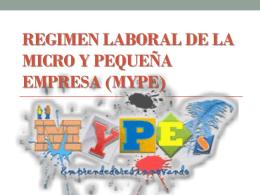 Regimen laboral de la micro y pequeña empresa (MYPE)