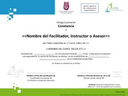 Nombre del Participante - Coordinación General de Formación e