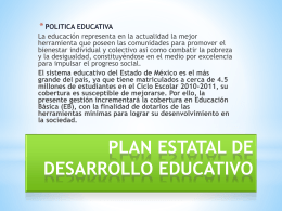 PLAN ESTATAL DE DESARROLLO EDUCATIVO