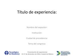 Presentación de experiencia en PowerPoint o Prezi