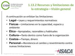 1.13.2 Recursos y limitaciones de la estrategia—Visión general