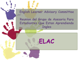 English Learner Advisory Committee Reunion del Grupo de