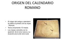 ORIGEN DEL CALENDARIO ROMANO d