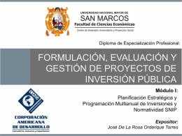 FORMULACION, EVALUACION DE GESTION DE PROYECTOS DE