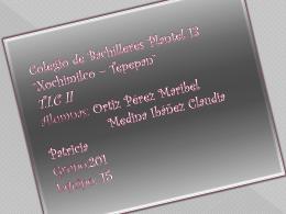 Colegio de Bachilleres Plantel 13 *Xochimilco * Tepepan* T.I.C II