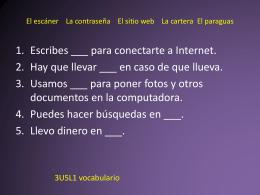 El escáner La contraseña El sitio web La cartera El paraguas