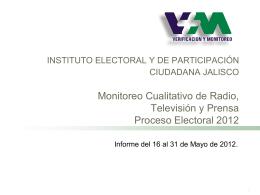 Instituto Electoral de Michoacán Monitoreo Cuantitativo y Cualitativo