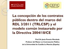 La concepción de los contratos públicos dentro del marco del RDL 3
