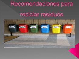 Recomendaciones para reciclar residuos - dcyad
