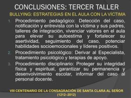 Conclusiones del III Taller Bullyng.