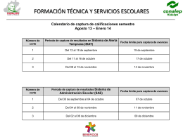 Calendario de captura de calificaciones