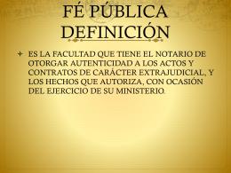 FÉ PÚBLICA DEFINICIÓN