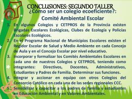 Conclusiones del Taller Ecoeficiencia.