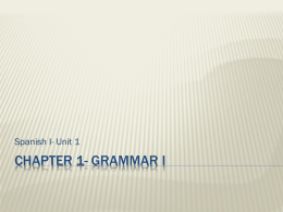 Chapter 1- Grammar I