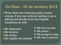 Do Now * 20 de octubre 2014