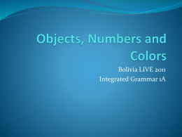 Objects, Numbers and Colors
