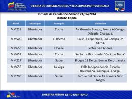 Jornada de Cedulación Sábado 21/06/2014
