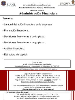 Administración Financiera - Facultad de Contaduría Pública y