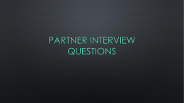 Partner Interview questions