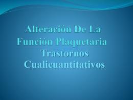 Alteración De La Función Plaquetaria