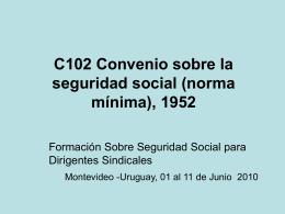 C102 Convenio sobre la seguridad social (norma
