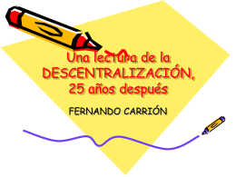 INTERROGATORIO A LA DESCENTRALIZACIÓN, 25 AÑOS