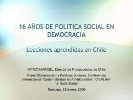 16 AÑOS DE POLITICA SOCIAL EN DEMOCRACIA