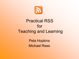 Practical RSS for Teaching and Learning