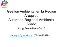 Gestión Ambiental en la Región Arequipa Autoridad